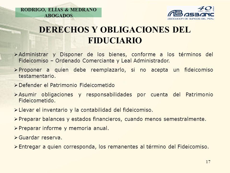 DERECHOS Y OBLIGACIONES DEL FIDUCIARIO