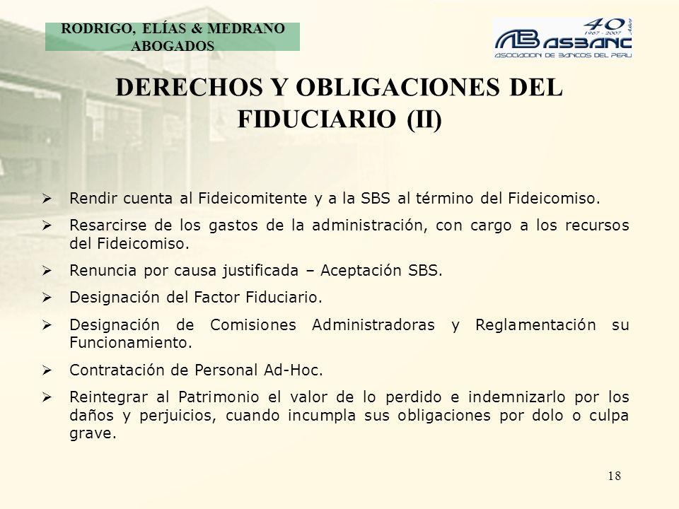 DERECHOS Y OBLIGACIONES DEL FIDUCIARIO (II)