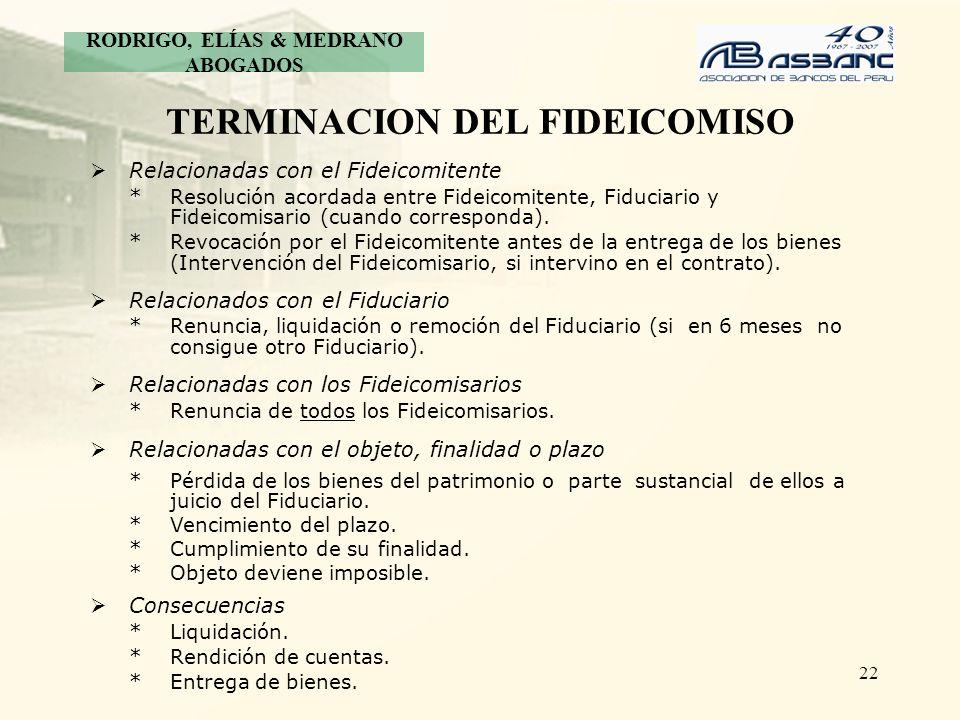TERMINACION DEL FIDEICOMISO