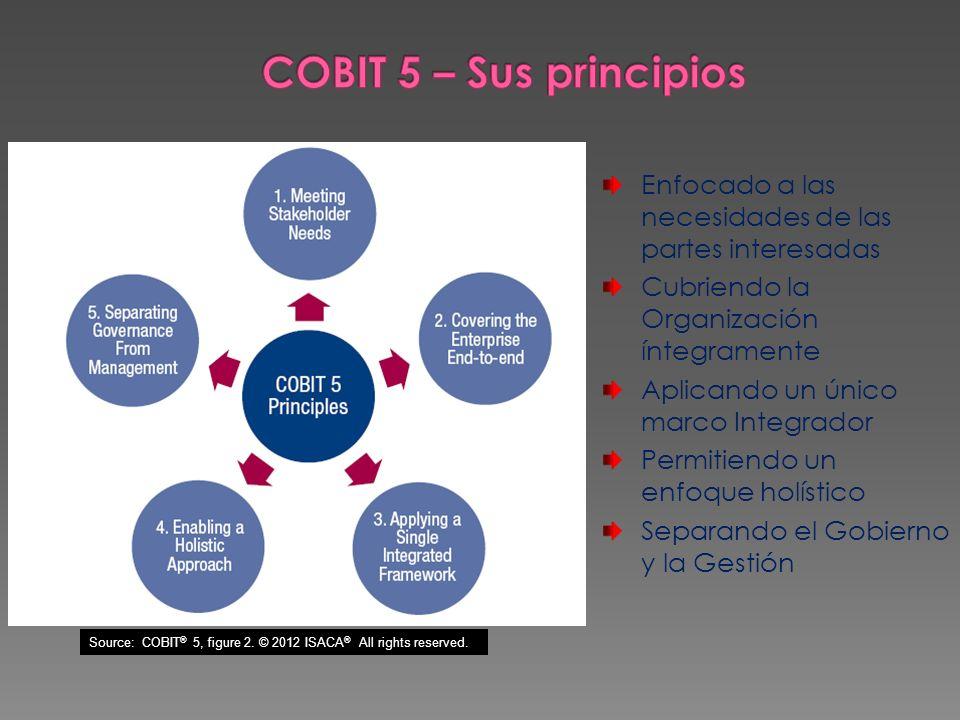 COBIT 5 – Sus principiosEnfocado a las necesidades de las partes interesadas. Cubriendo la Organización íntegramente.