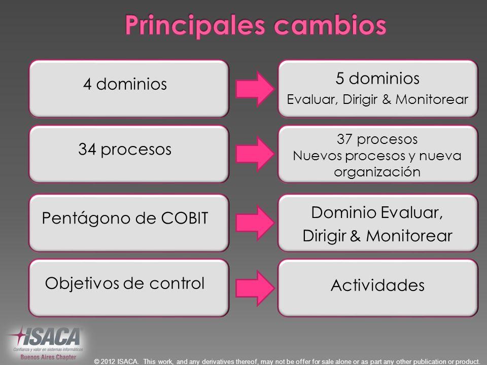 Principales cambios 5 dominios 4 dominios 34 procesos Dominio Evaluar,