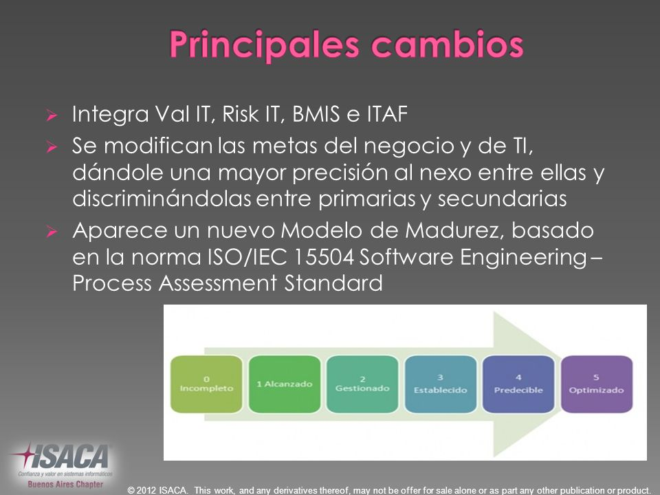 Principales cambios Integra Val IT, Risk IT, BMIS e ITAF