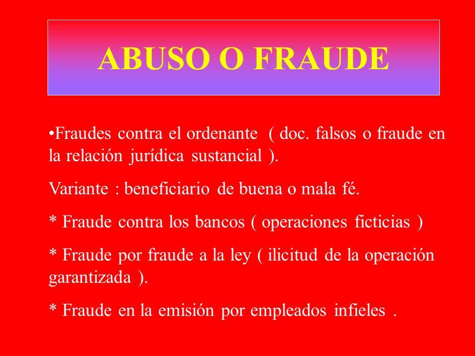 ABUSO O FRAUDE Fraudes contra el ordenante ( doc. falsos o fraude en la relación jurídica sustancial ).