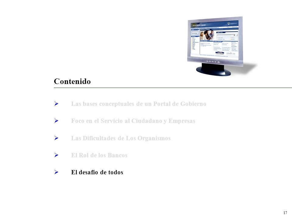 Contenido Las bases conceptuales de un Portal de Gobierno