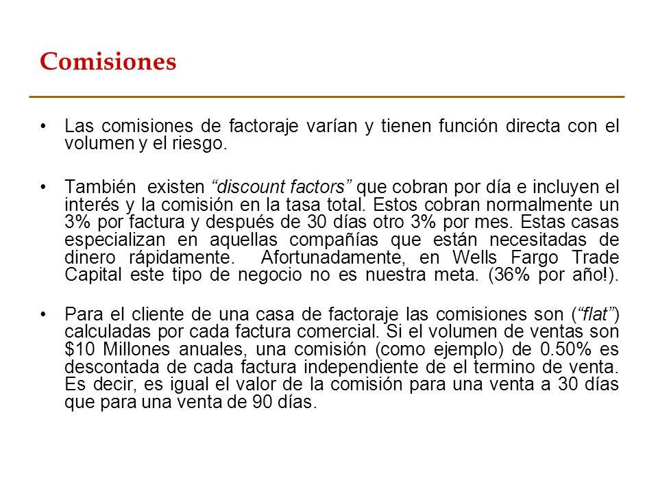 ComisionesLas comisiones de factoraje varían y tienen función directa con el volumen y el riesgo.