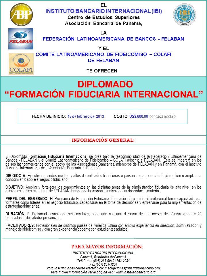 DIPLOMADO FORMACIÓN FIDUCIARIA INTERNACIONAL