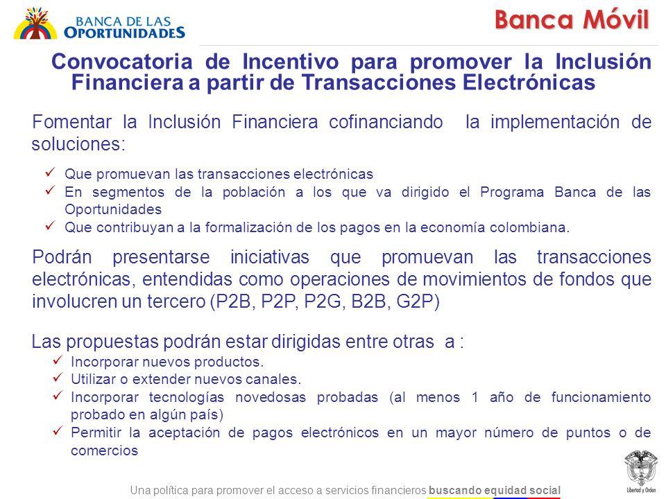 Convocatoria de Incentivo para promover la Inclusión Financiera a partir de Transacciones Electrónicas