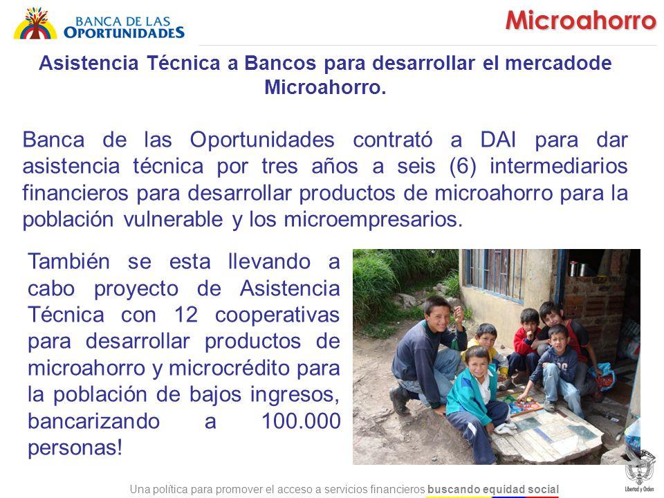 Asistencia Técnica a Bancos para desarrollar el mercadode Microahorro.
