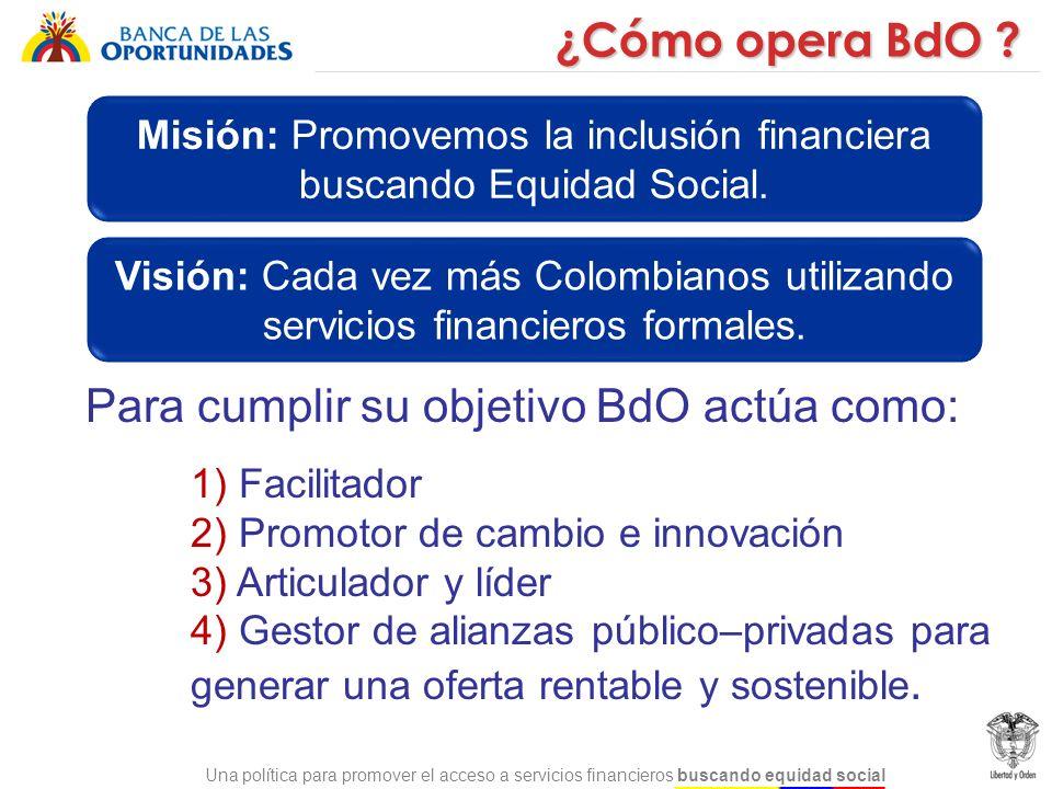 Misión: Promovemos la inclusión financiera buscando Equidad Social.
