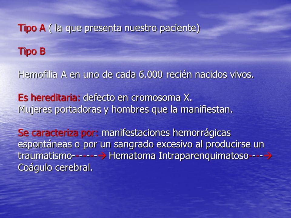 Tipo A ( la que presenta nuestro paciente) Tipo B Hemofilia A en uno de cada 6.000 recién nacidos vivos.