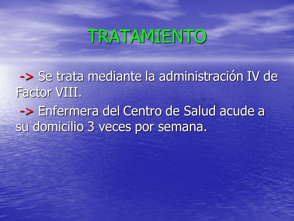 TRATAMIENTO -> Se trata mediante la administración IV de Factor VIII.