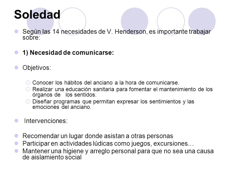 SoledadSegún las 14 necesidades de V. Henderson, es importante trabajar sobre: 1) Necesidad de comunicarse: