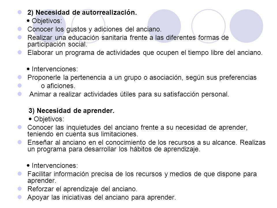 2) Necesidad de autorrealización.