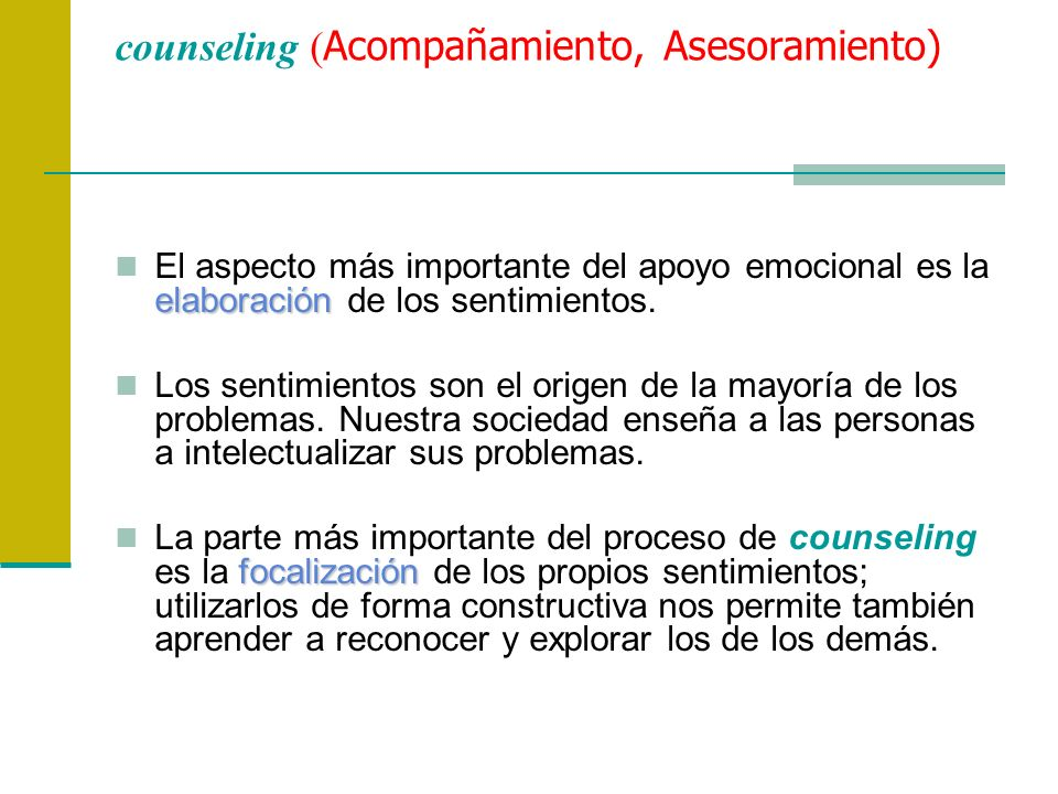 counseling (Acompañamiento, Asesoramiento)