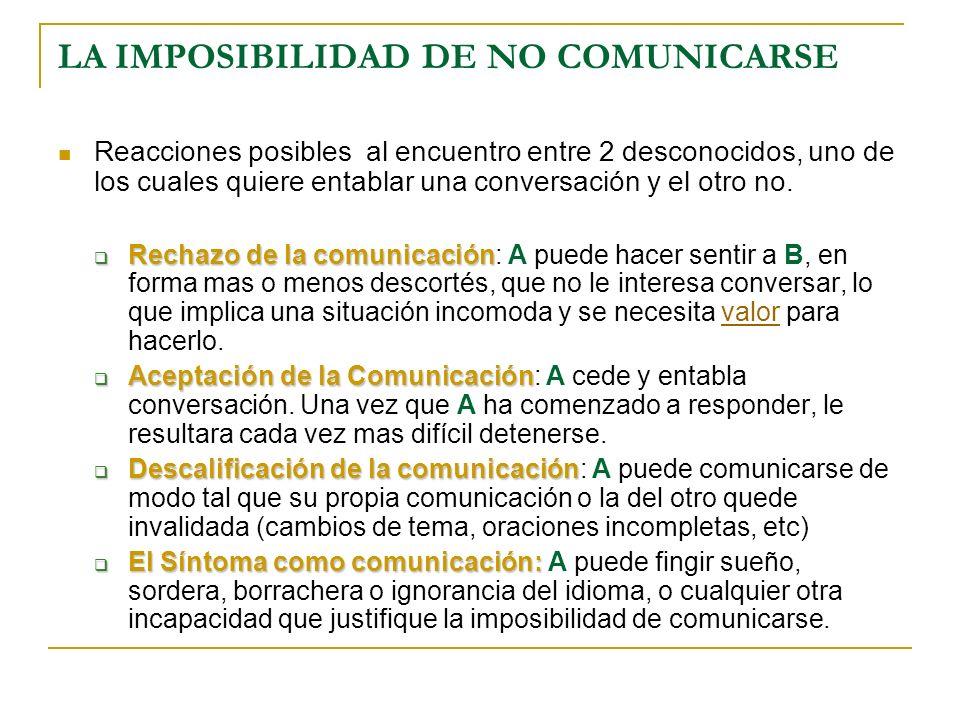 LA IMPOSIBILIDAD DE NO COMUNICARSE
