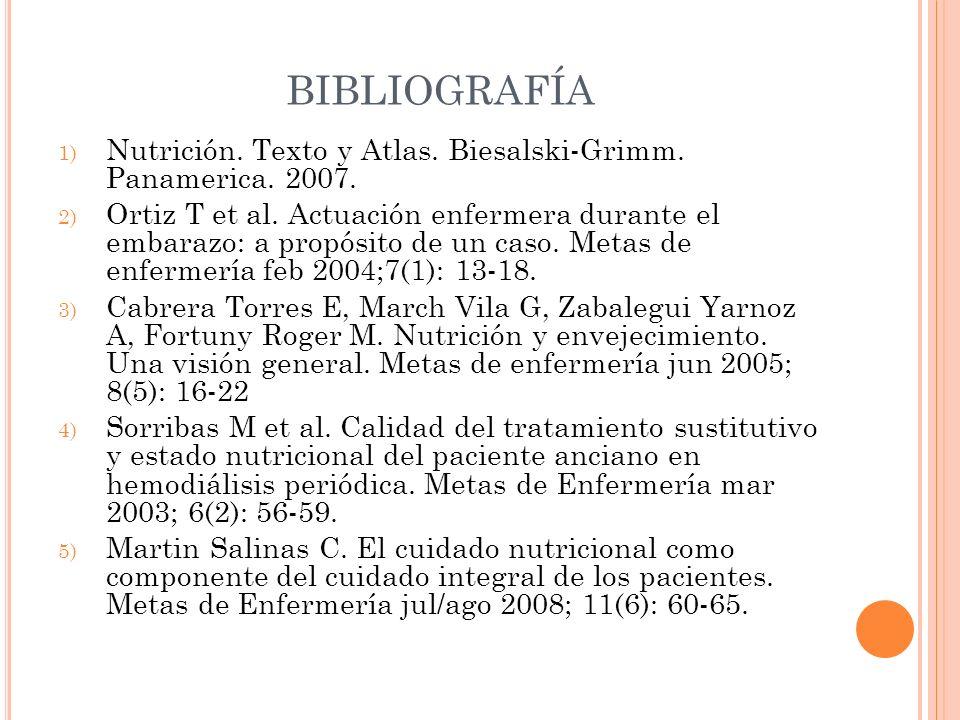 BIBLIOGRAFÍANutrición. Texto y Atlas. Biesalski-Grimm. Panamerica. 2007.