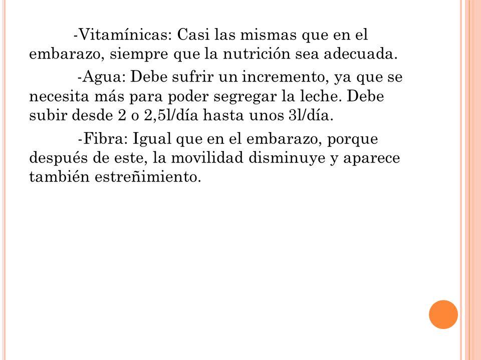 -Vitamínicas: Casi las mismas que en el embarazo, siempre que la nutrición sea adecuada.