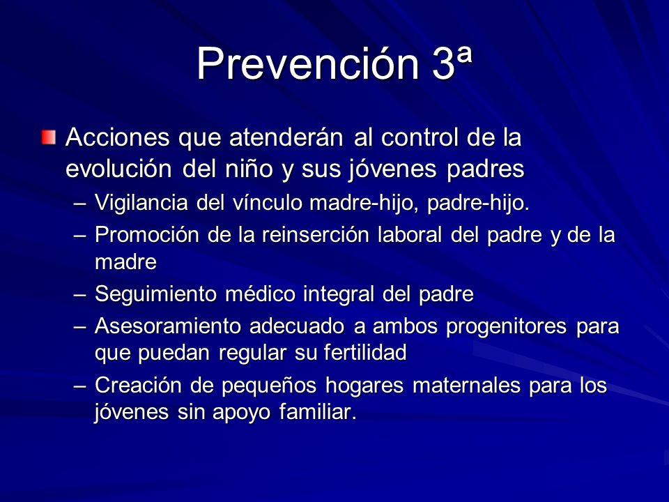 Prevención 3ª Acciones que atenderán al control de la evolución del niño y sus jóvenes padres. Vigilancia del vínculo madre-hijo, padre-hijo.