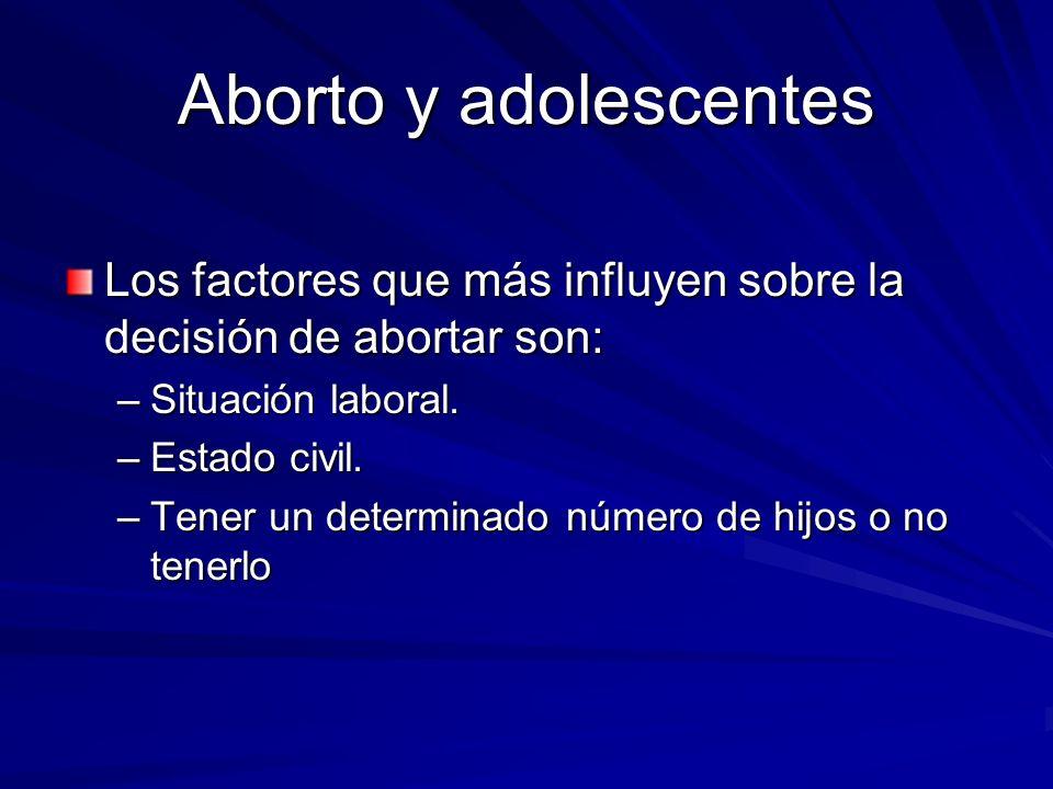 Aborto y adolescentes Los factores que más influyen sobre la decisión de abortar son: Situación laboral.