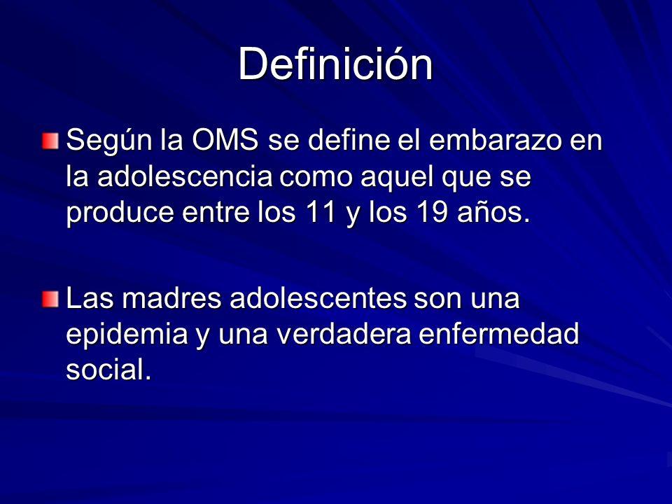 Definición Según la OMS se define el embarazo en la adolescencia como aquel que se produce entre los 11 y los 19 años.