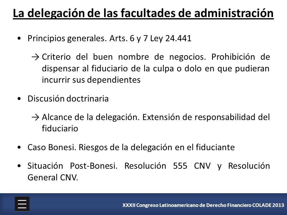 La delegación de las facultades de administración