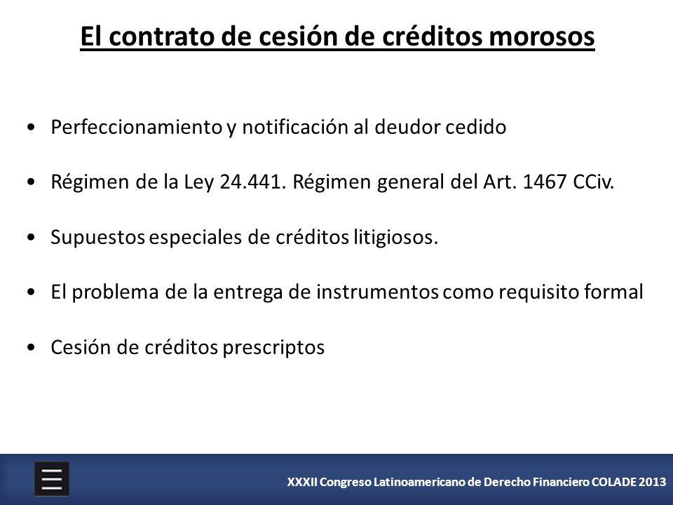 El contrato de cesión de créditos morosos