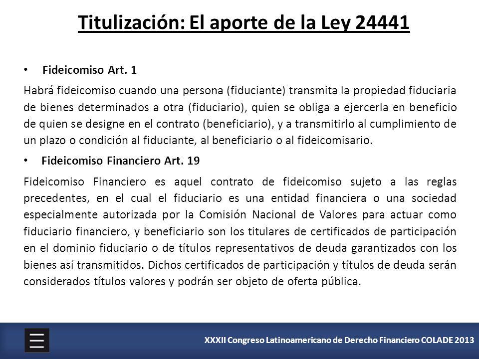 Titulización: El aporte de la Ley 24441