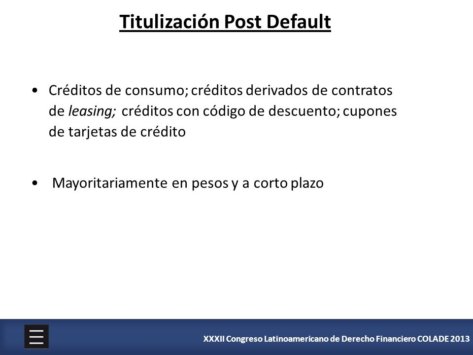Titulización Post Default