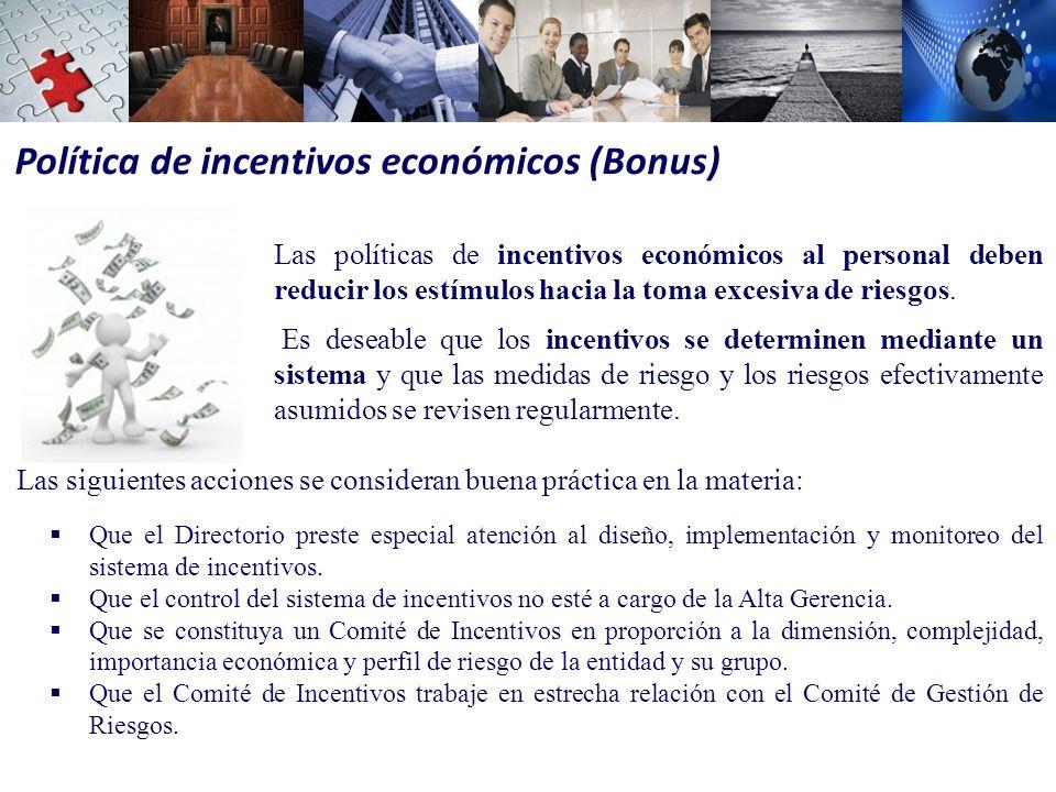 Política de incentivos económicos (Bonus)