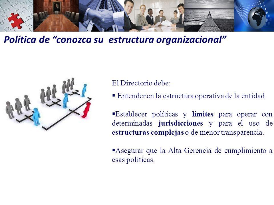 Política de conozca su estructura organizacional
