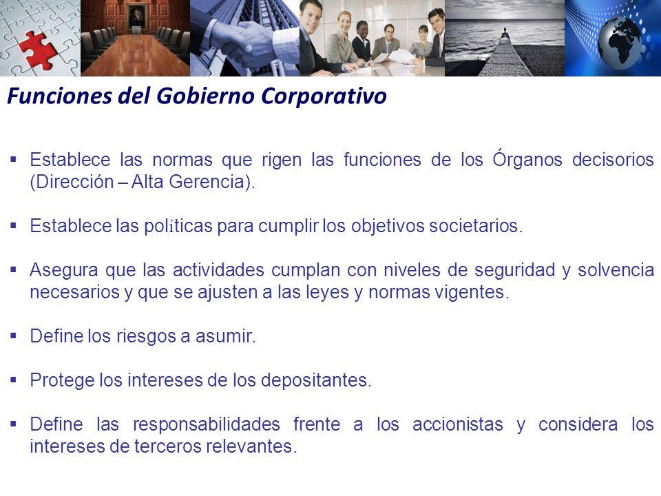 Funciones del Gobierno Corporativo