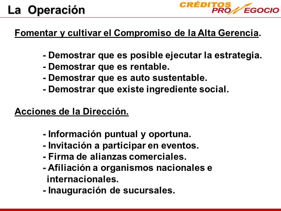 La Operación Fomentar y cultivar el Compromiso de la Alta Gerencia.