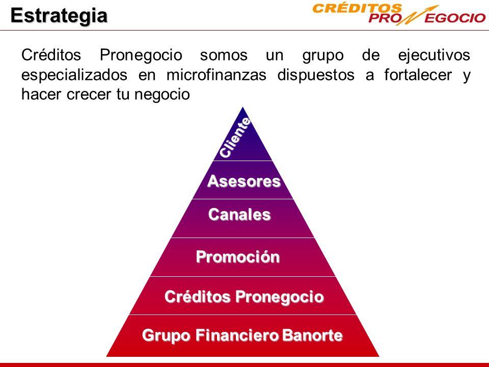 Estrategia Créditos Pronegocio somos un grupo de ejecutivos especializados en microfinanzas dispuestos a fortalecer y hacer crecer tu negocio.