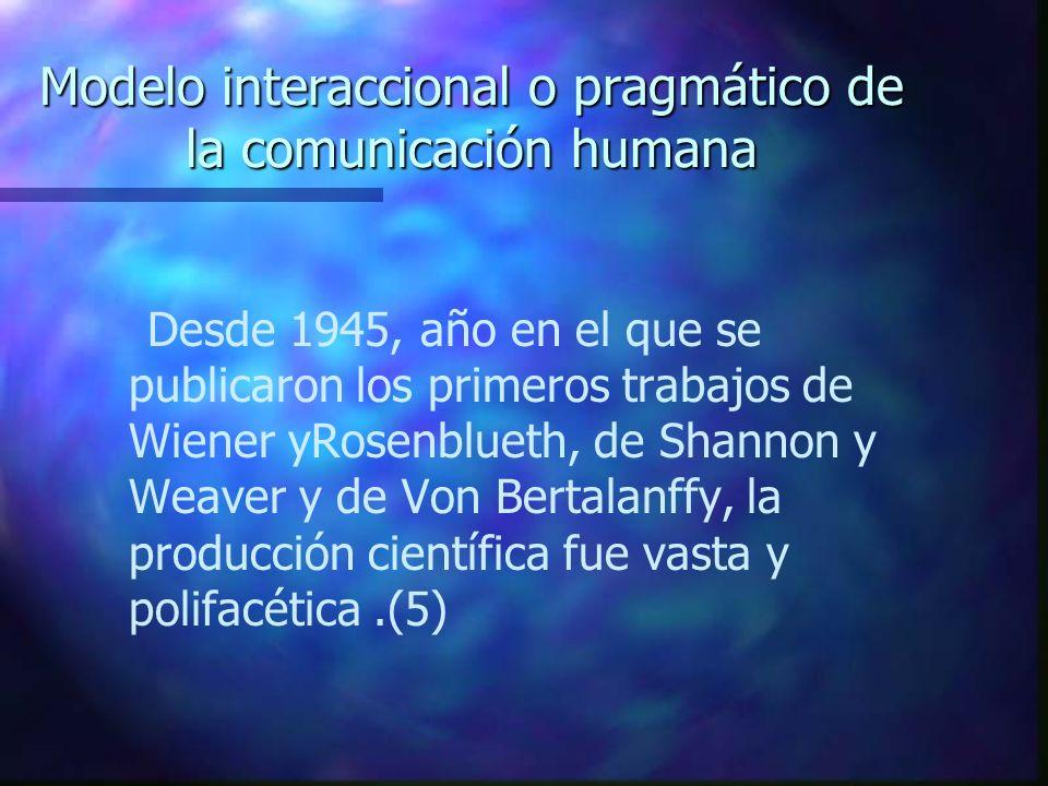 Modelo interaccional o pragmático de la comunicación humana