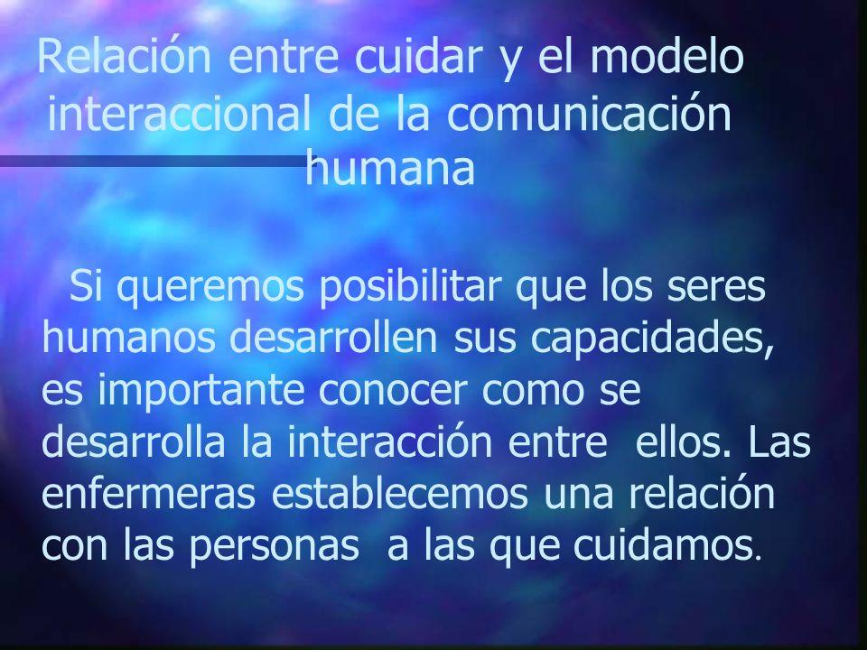 Relación entre cuidar y el modelo interaccional de la comunicación humana