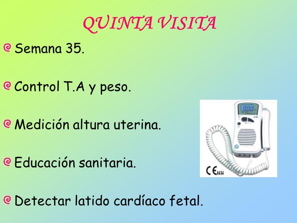 QUINTA VISITA Semana 35. Control T.A y peso. Medición altura uterina.