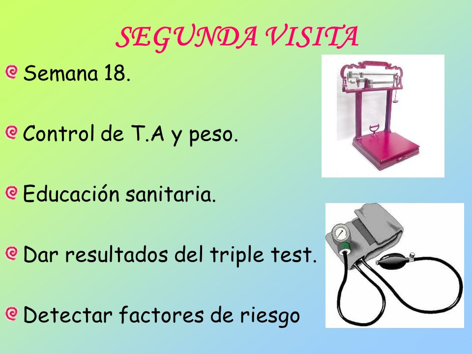 SEGUNDA VISITA Semana 18. Control de T.A y peso. Educación sanitaria.