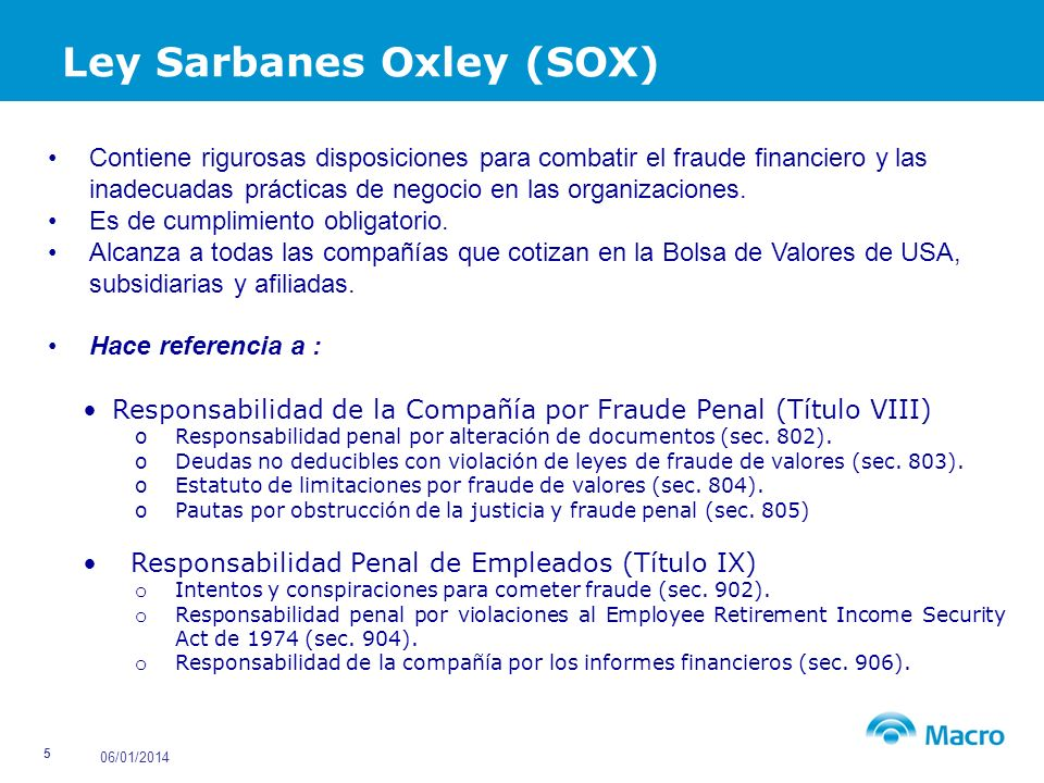 Ley Sarbanes Oxley (SOX)