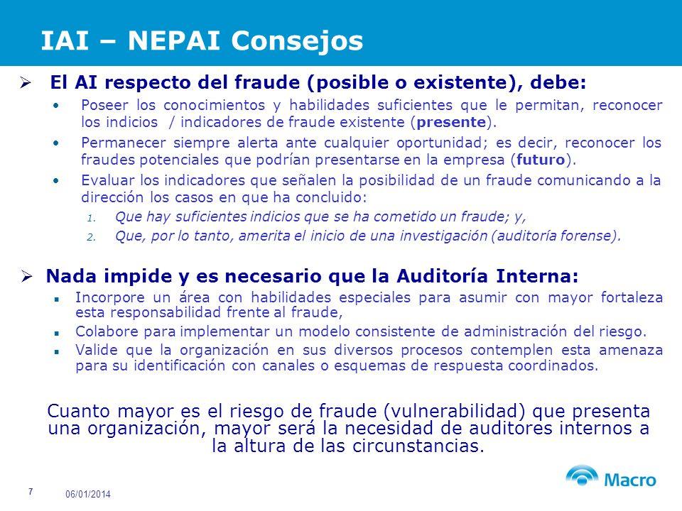 IAI – NEPAI Consejos El AI respecto del fraude (posible o existente), debe: