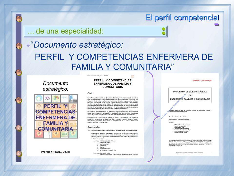 PERFIL Y COMPETENCIAS ENFERMERA DE FAMILIA Y COMUNITARIA
