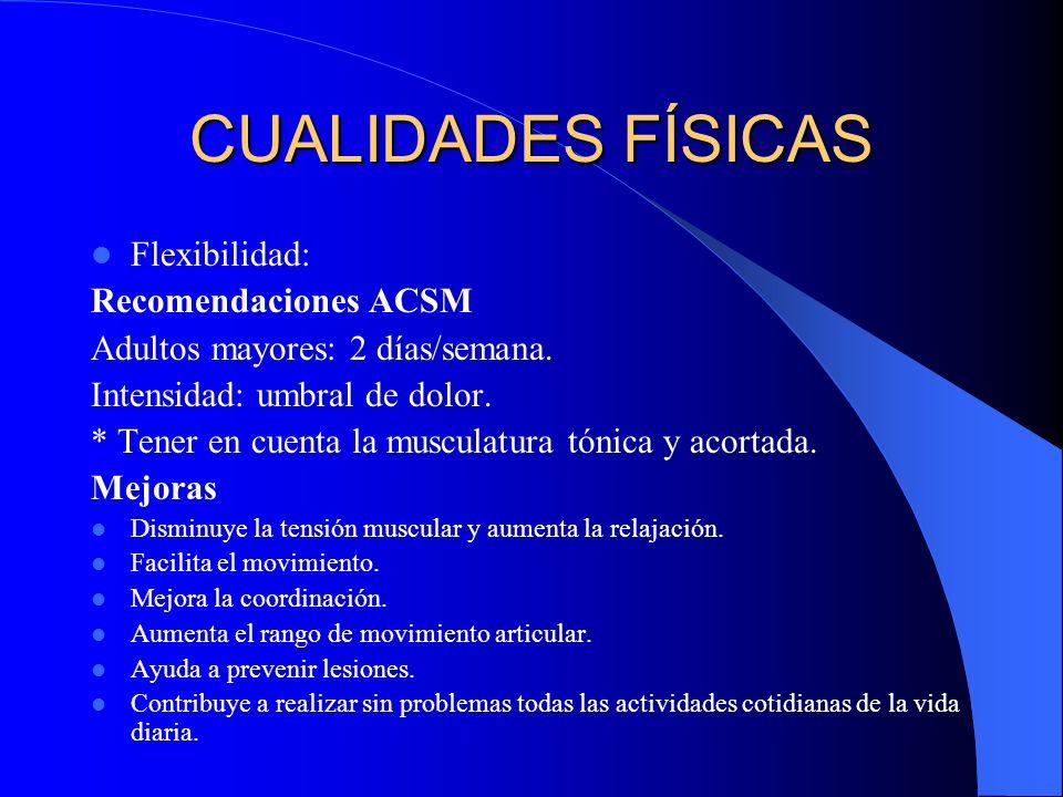 CUALIDADES FÍSICAS Flexibilidad: Recomendaciones ACSM