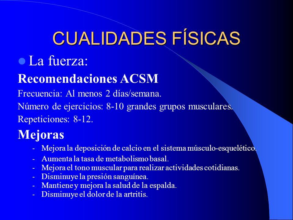 CUALIDADES FÍSICAS La fuerza: Recomendaciones ACSM Mejoras
