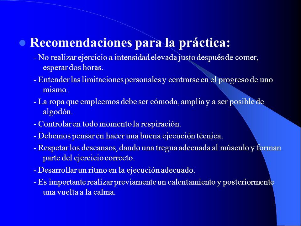 Recomendaciones para la práctica: