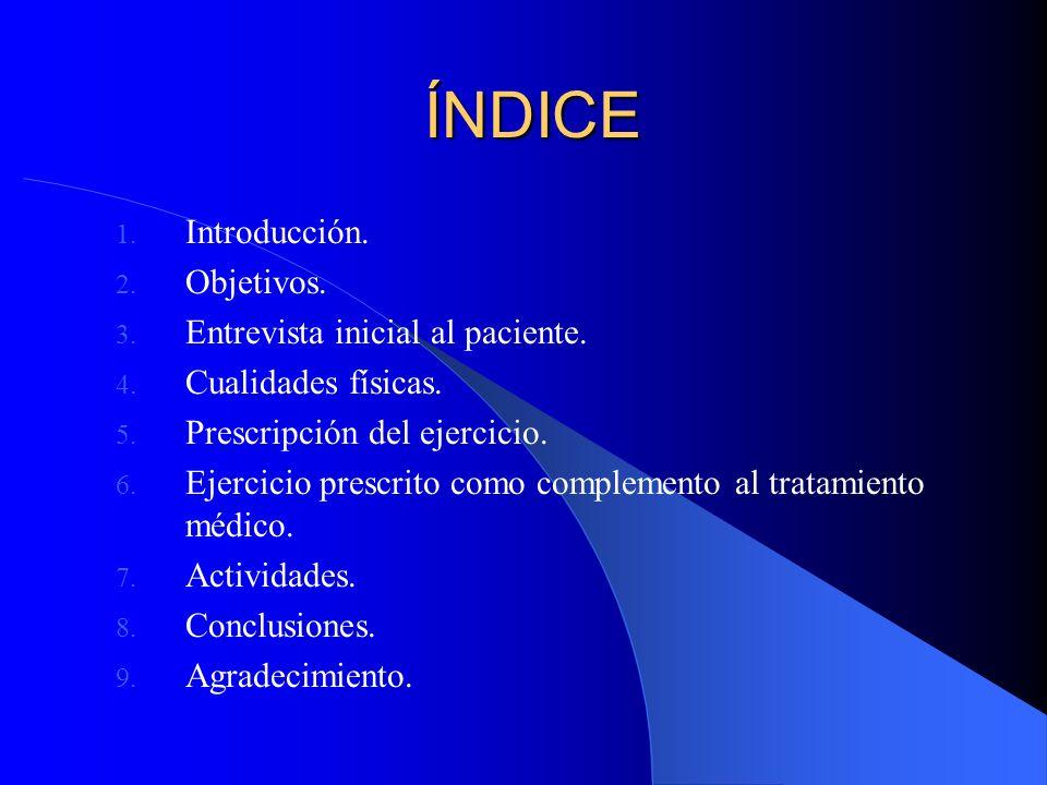 ÍNDICE Introducción. Objetivos. Entrevista inicial al paciente.