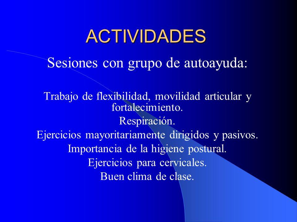 ACTIVIDADES Sesiones con grupo de autoayuda: