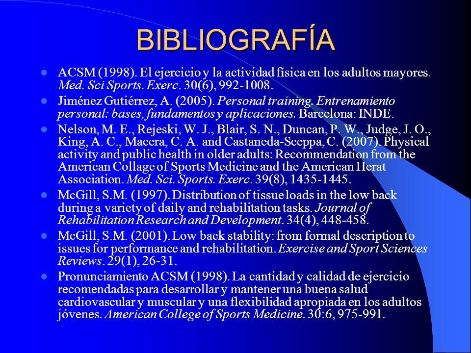 BIBLIOGRAFÍA ACSM (1998). El ejercicio y la actividad física en los adultos mayores. Med. Sci Sports. Exerc. 30(6), 992-1008.