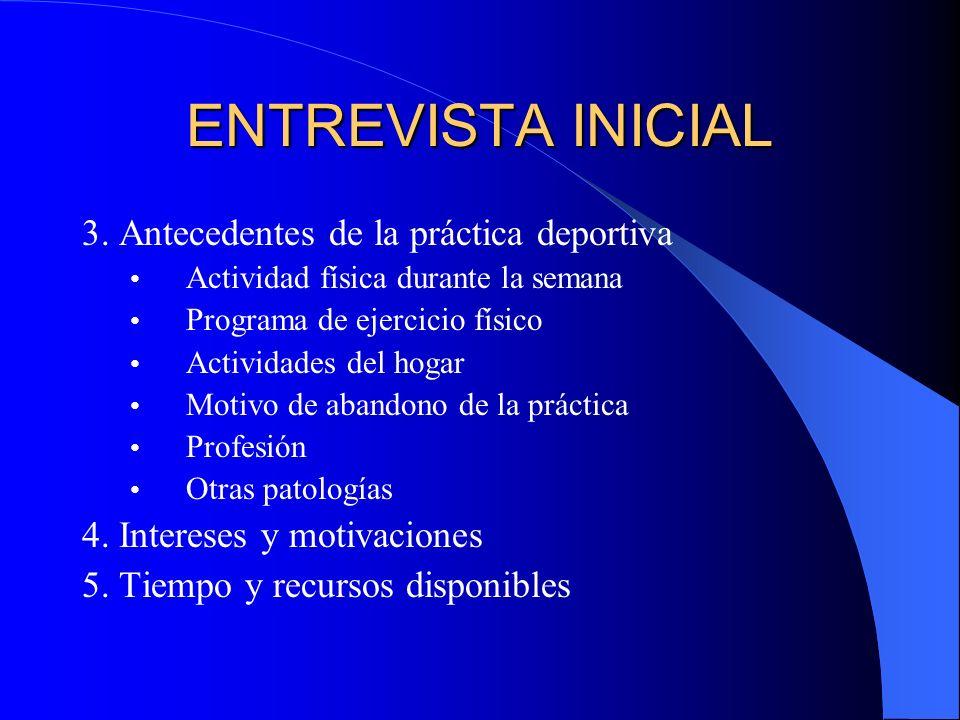 ENTREVISTA INICIAL 3. Antecedentes de la práctica deportiva