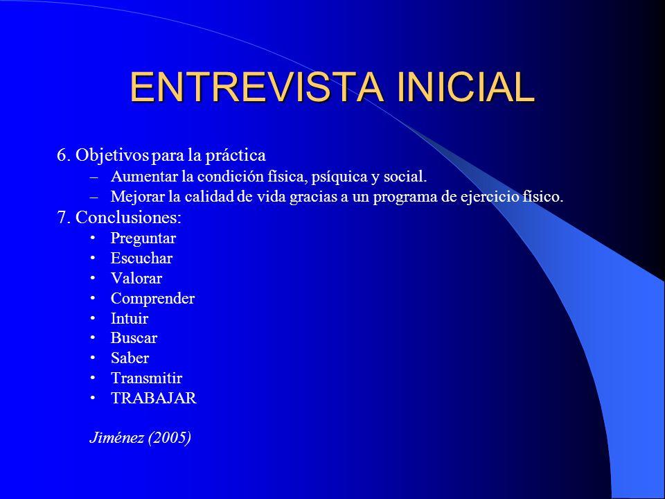 ENTREVISTA INICIAL 6. Objetivos para la práctica 7. Conclusiones: