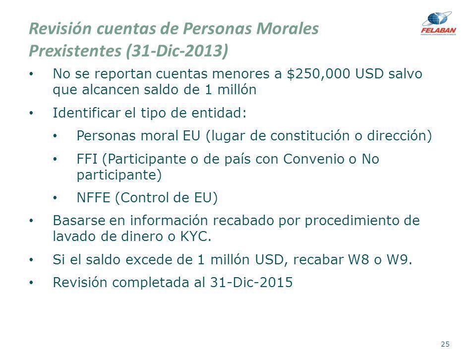 Revisión cuentas de Personas Morales Prexistentes (31-Dic-2013)