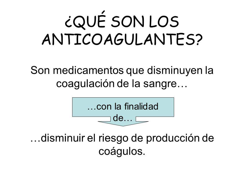 Son medicamentos que disminuyen la coagulación de la sangre…